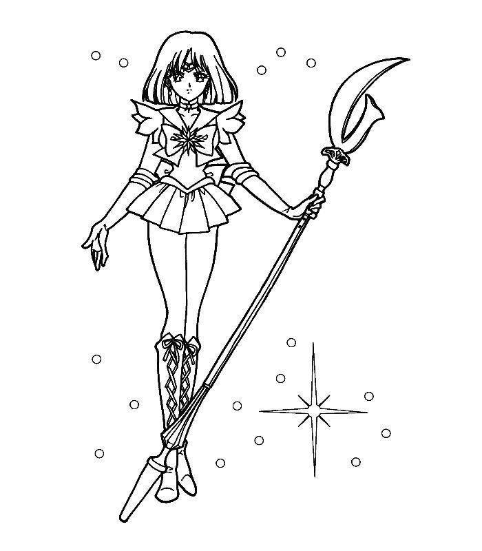 Sailor Moon Coloring Pages Saturn