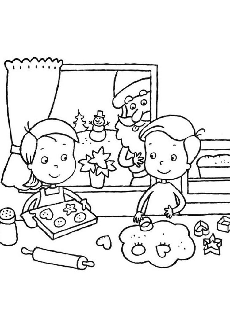 Santa Claus And Kids Coloring Pages