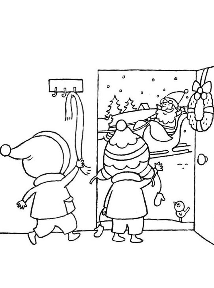 Santa Claus Coloring Pages Kids Welcoming Santa
