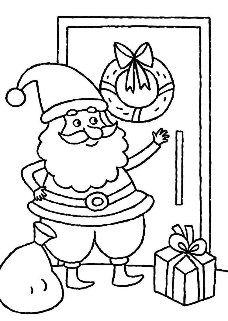 Santa Claus Knocking The Door Christmas Coloring Pages For Kids