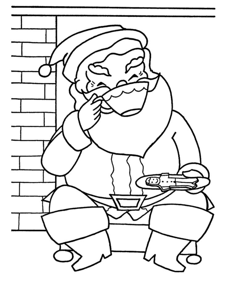 Santa Eating Gingerbread And Drinking Chocoa Christmas Coloring Pages Printable