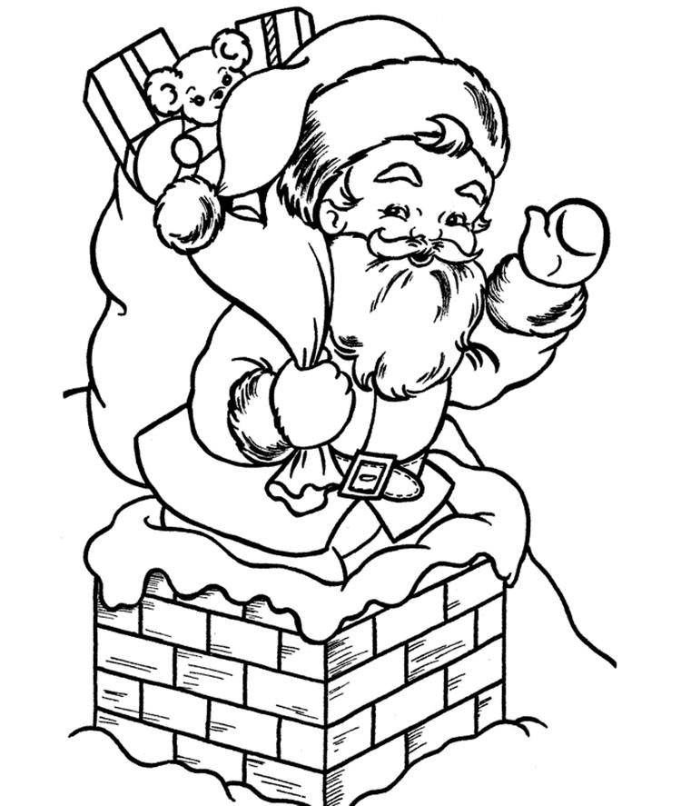 Santa Into A Pit In Christmas Coloring Pages Printable