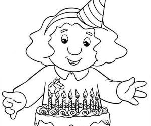 Sarah gilbertson ready to blow candles in postman pat coloring pages