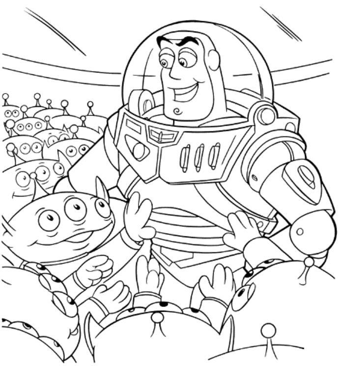Sarge Alien With Buzz Lightyear Toy Story 2 Coloring Pages