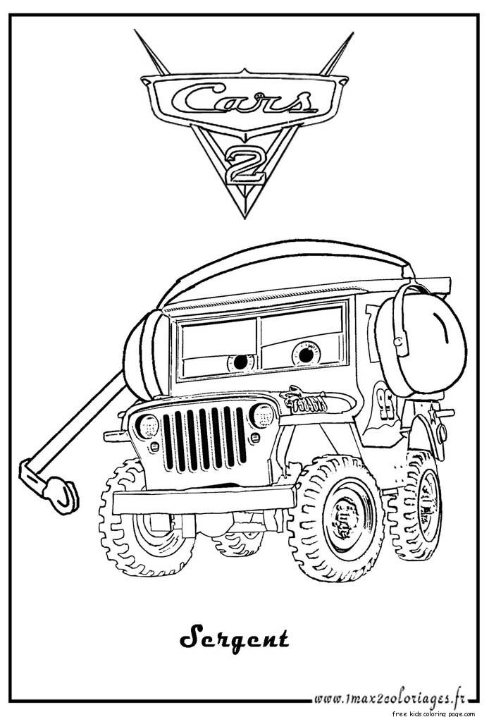 Sarge Coloring Page Car 2