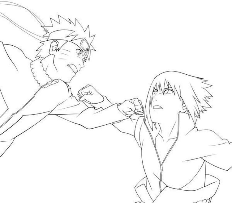 Sasuke Vs Naruto Coloring Pages