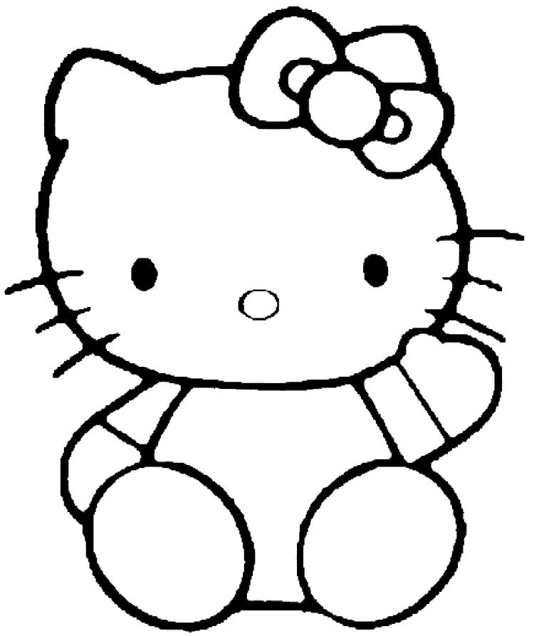 Saying Hello Hello Kitty Coloring Pages