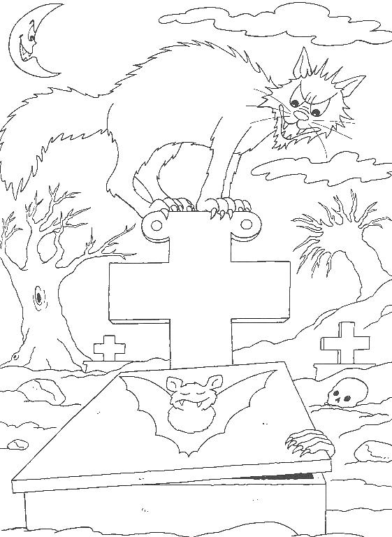 Scary Cat Halloween Coloring Pages