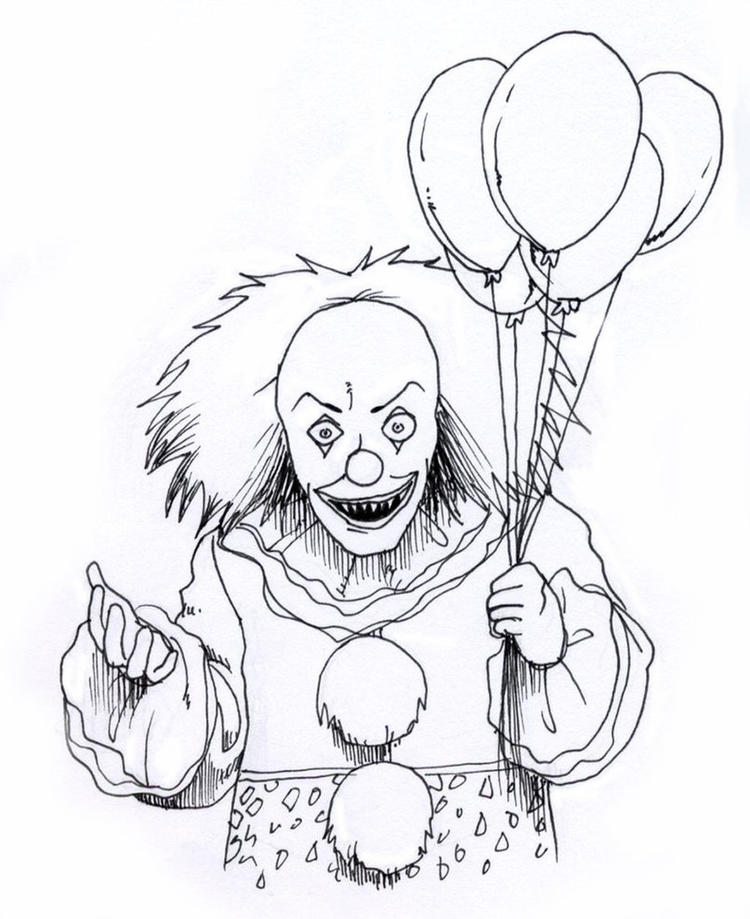 Scary Coloring Pages Clown