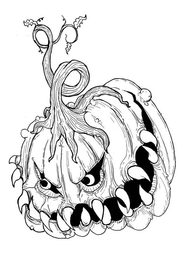 Scary Coloring Pages Pumpkin