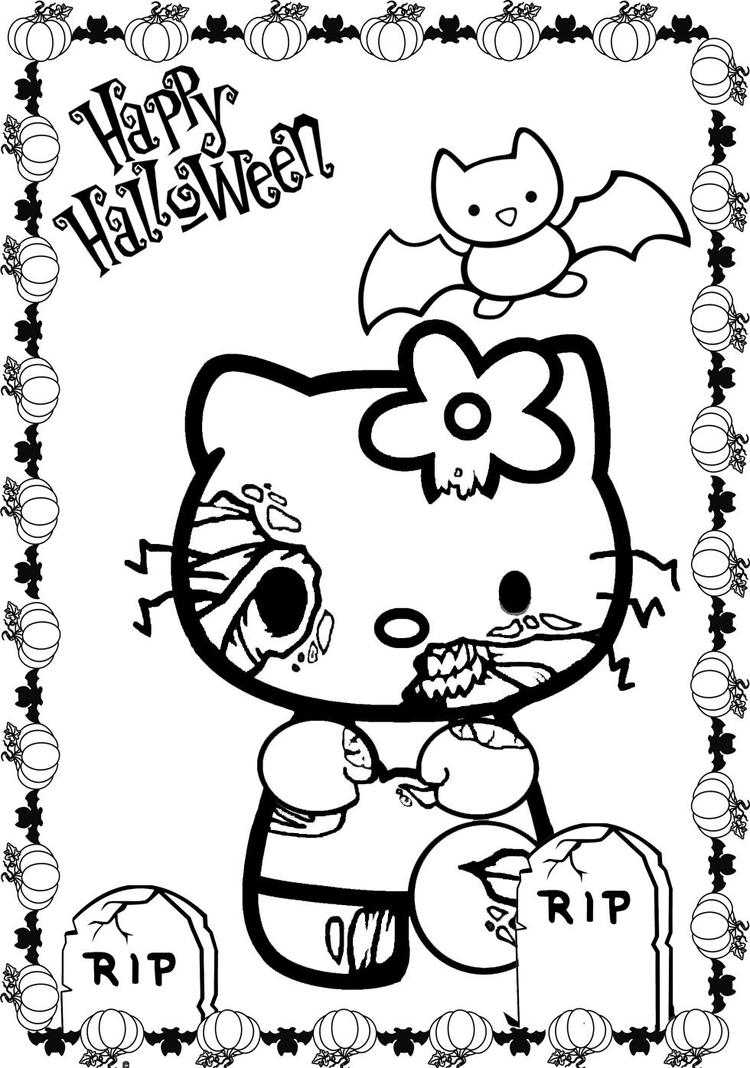 Scary Halloween Hello Kitty Coloring Pages