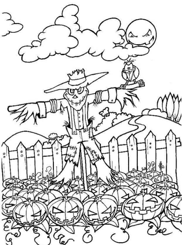 Scary Scarecrow And Pumpkin Coloring Pages