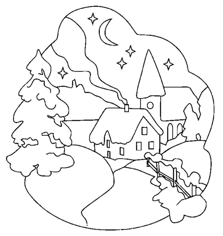 Scene Free Winter Coloring Pages