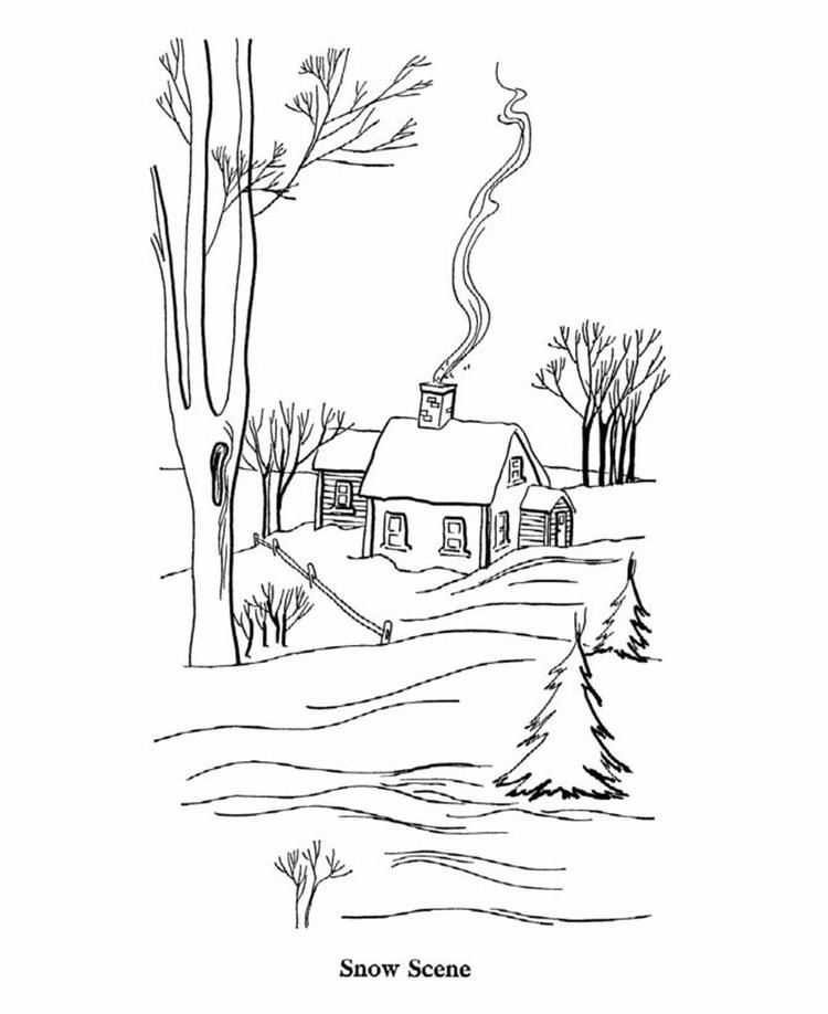 Scene Of Winter Coloring Pages Printable
