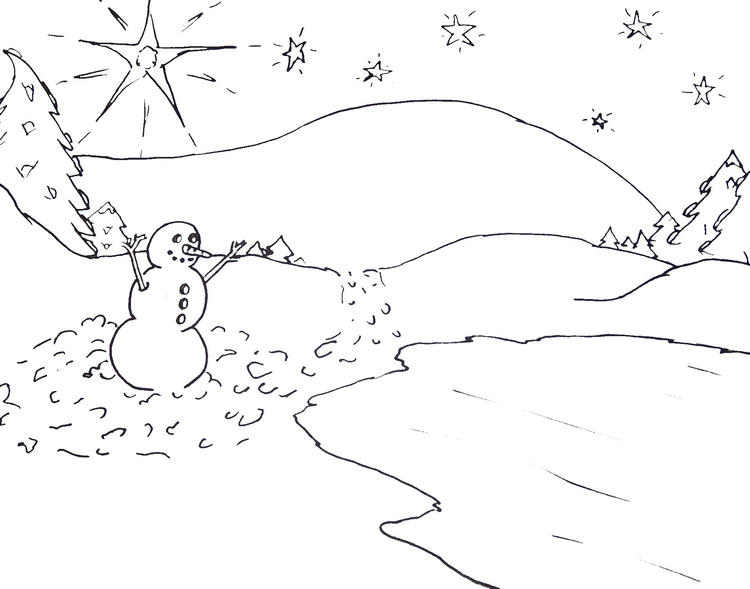 Scene Of Winter Coloring Pages
