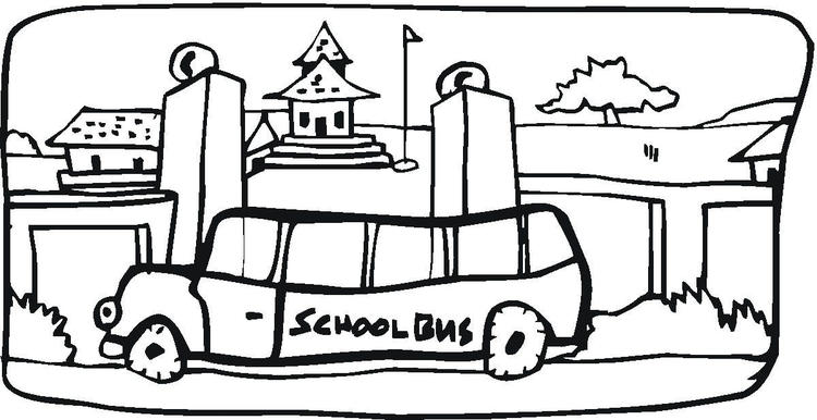 School Bus Coloring Page In The Town