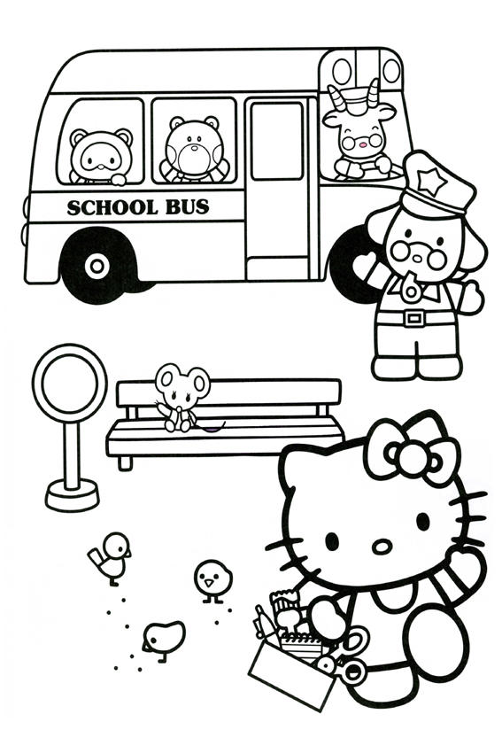 School Bus Hello Kitty Back To School Coloring Pages