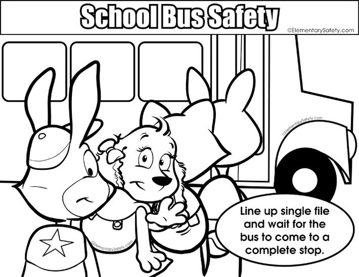 School Bus Safety Rule Colouring Page