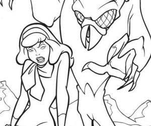 Scooby doo coloring pages daphne and monster for halloween