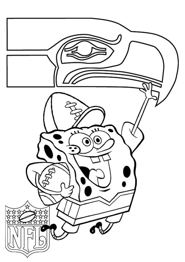 Seattle Seahawks And Spongebob Coloring Pages
