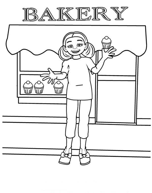 Selling Cupcake In Bakery Store Coloring Pages