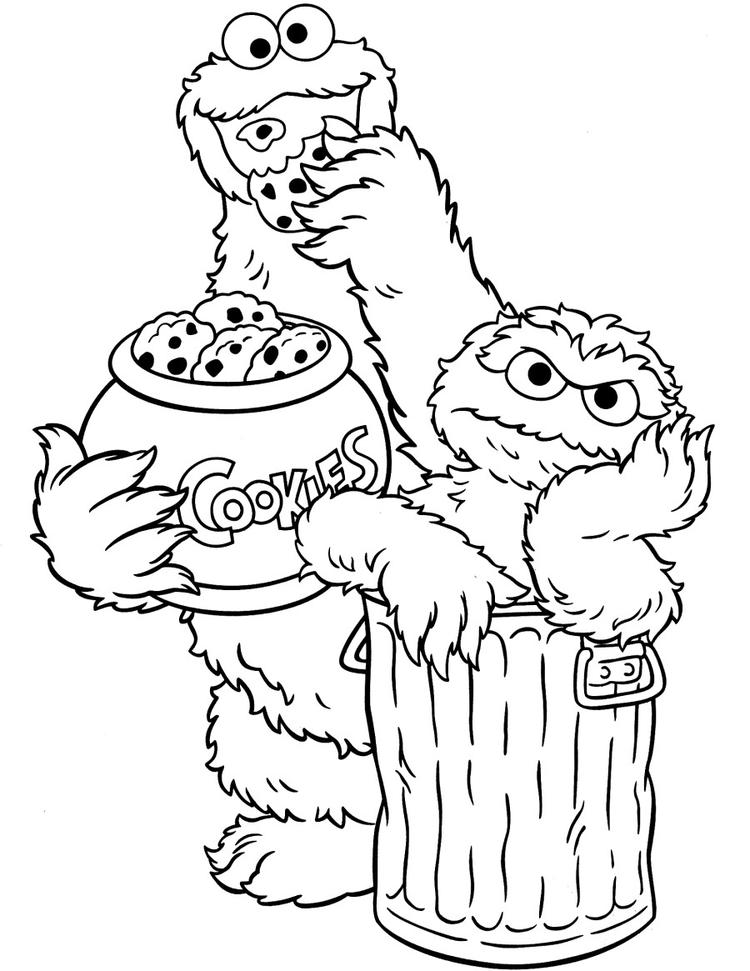 Sesame Street Coloring Pages Cookie Monster And Oscar