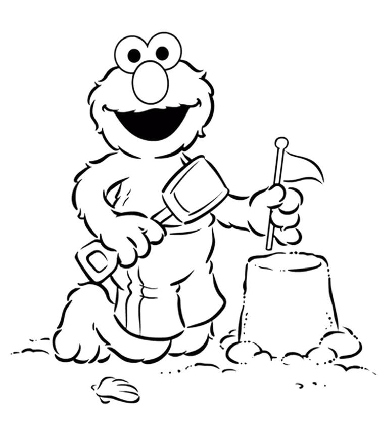 Sesame Street Coloring Pages Elmo At The Beach
