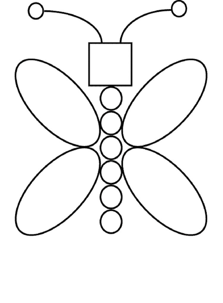 Shape Coloring Pages Butterfly Shaped