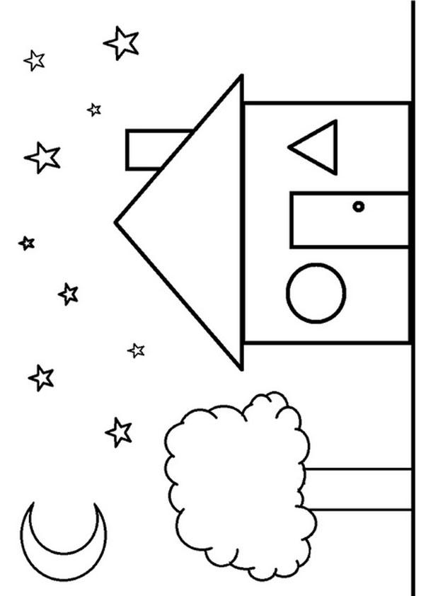 Shape Coloring Pages House Shaped
