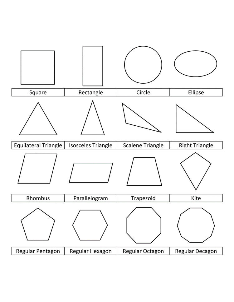 Shape With Names Coloring Pages