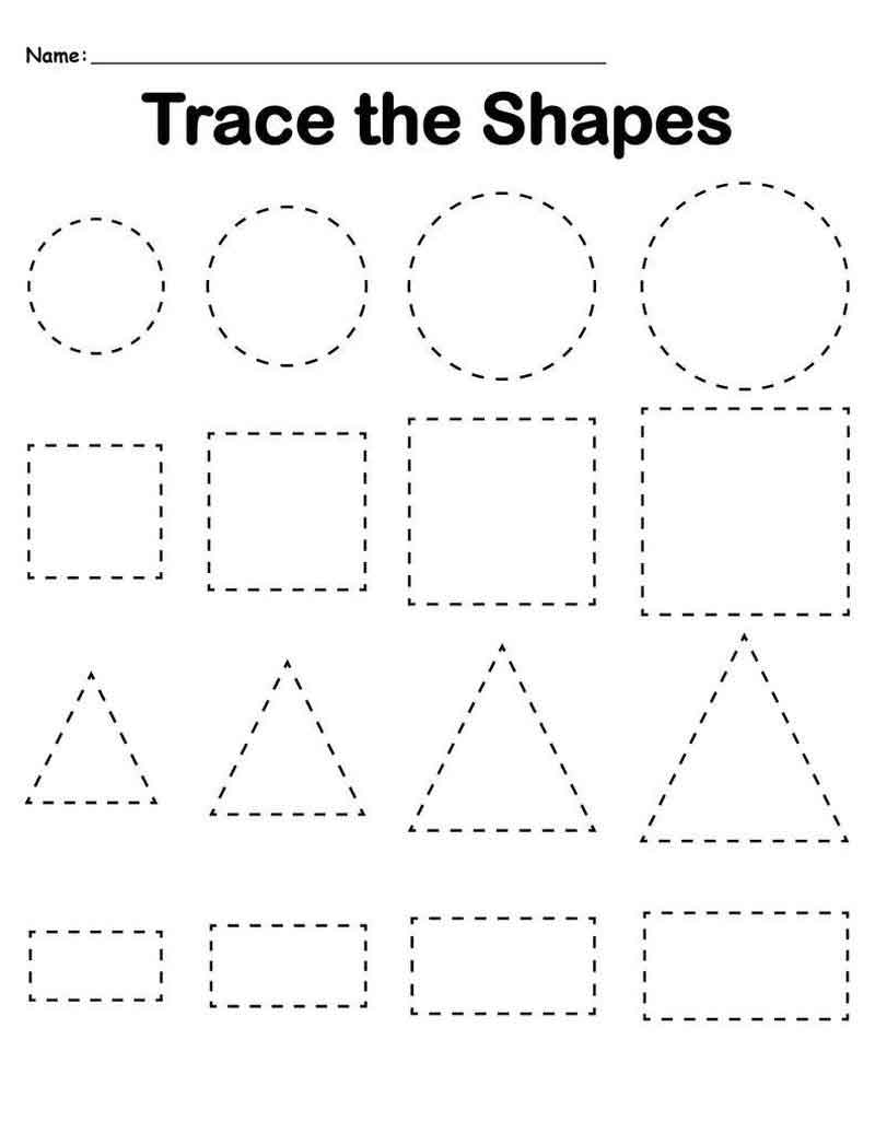 Shapes Preschool Tracing Worksheets