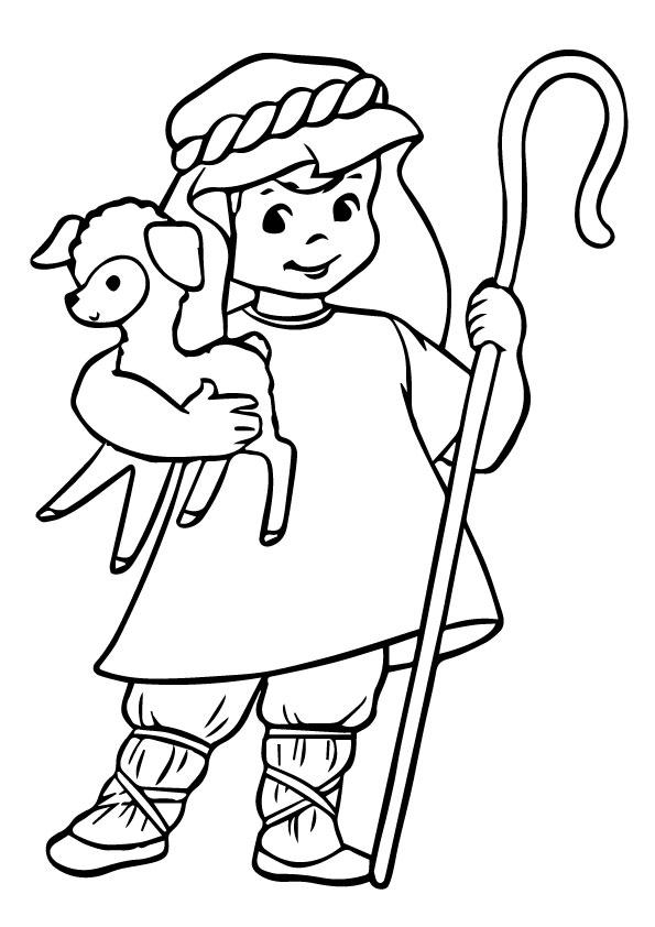 Sheep Coloring Pages With A Shepherd