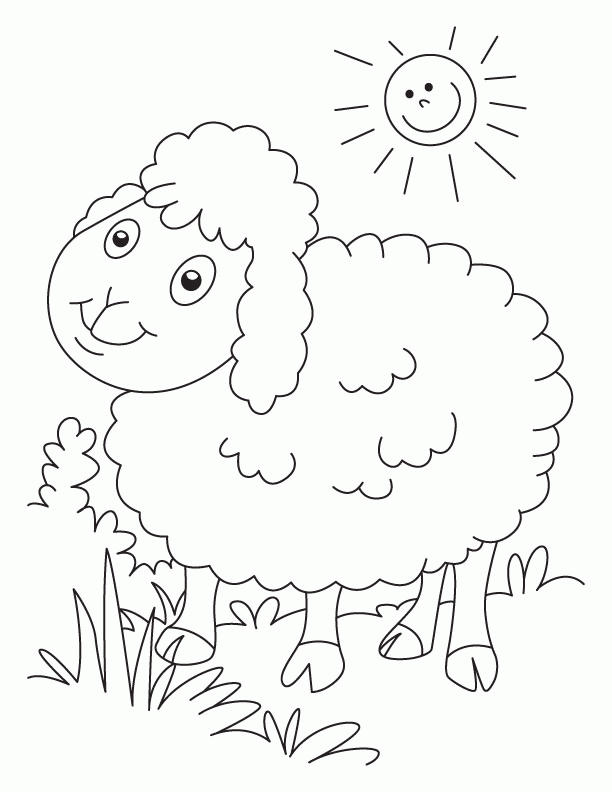 Sheep Coloring Pages With Grass And Sun