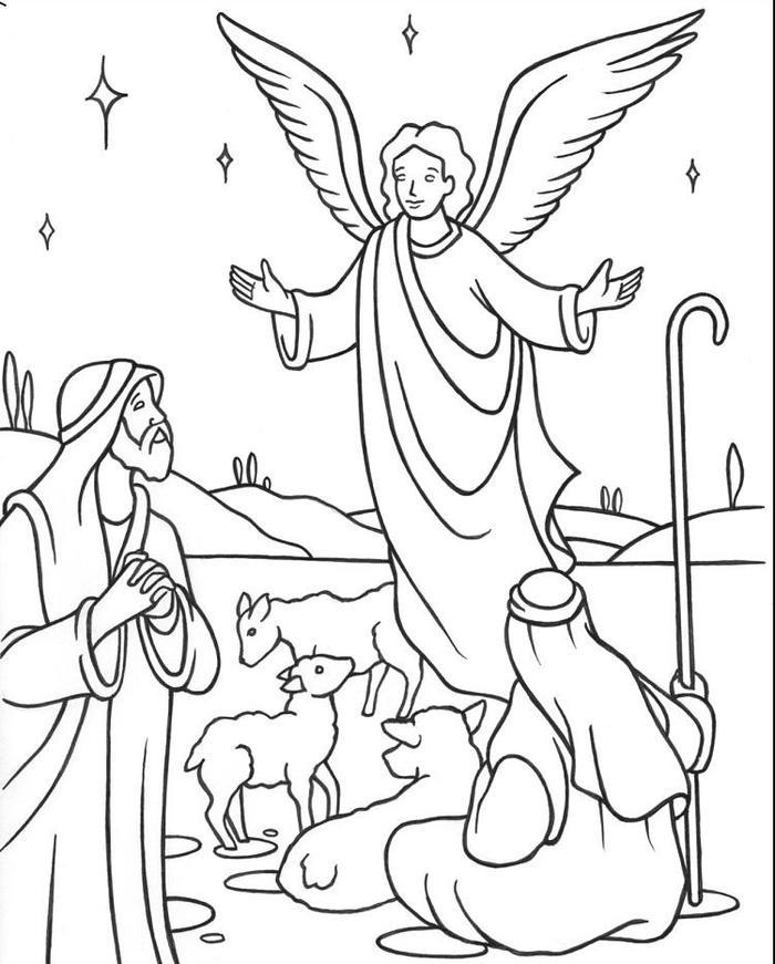 Sheperd And Angels Coloring Pages