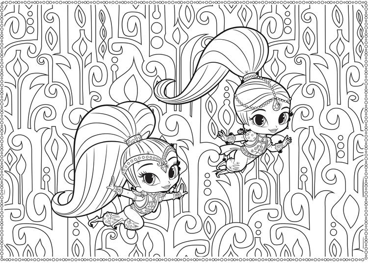 Shimmer And Shine Nick Jr Coloring Sheet For Adults