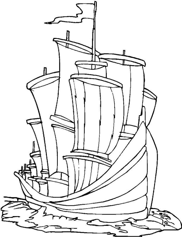 Ship Transportation Coloring Page For Kids