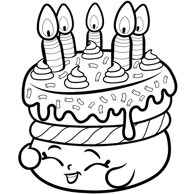 Shopkins Brithday Cake Coloring Pages