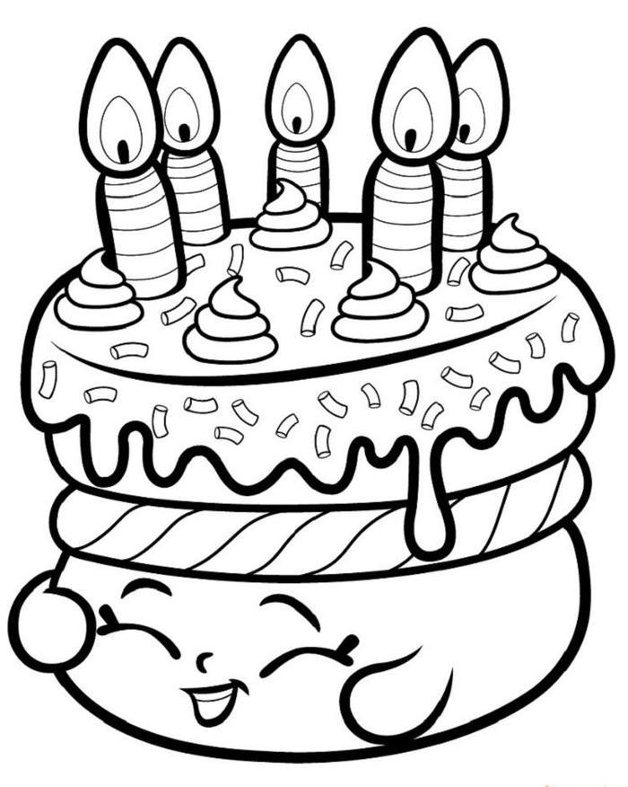 Shopkins Coloring Pages Cake