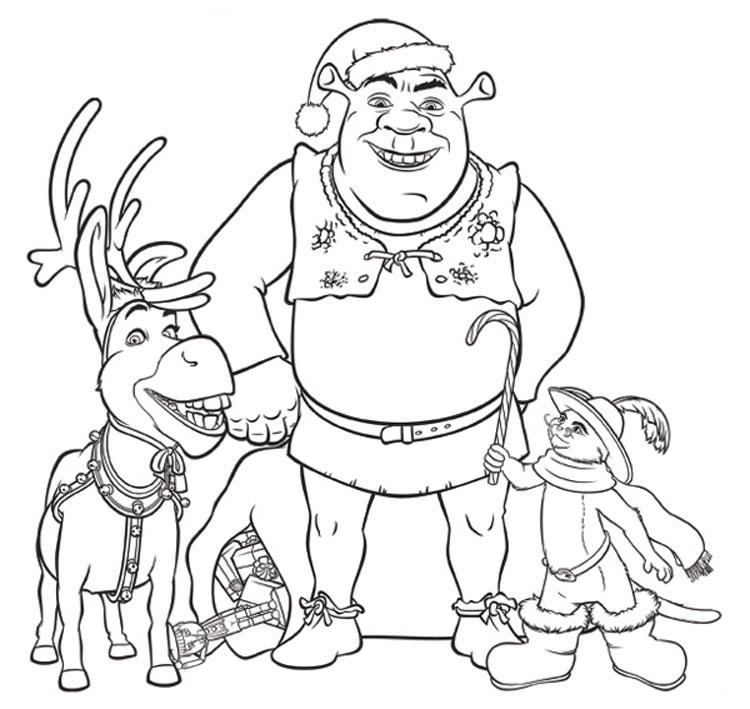 Shrek Coloring Pages Christmas