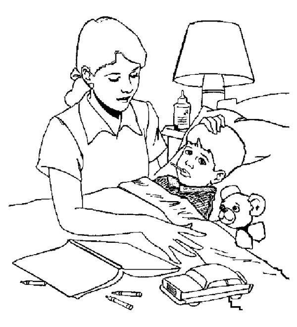 Sick Kid Need To Bring To Hospital Coloring Pages