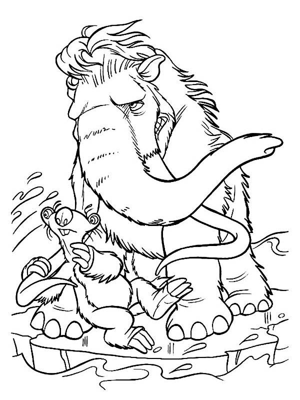 Sid And Mannie Fight Cold Wind In Ice Age Coloring Pages