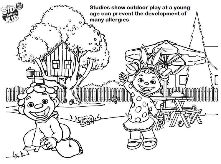Sid The Science Kid Outdoor Play Coloring Page For Children