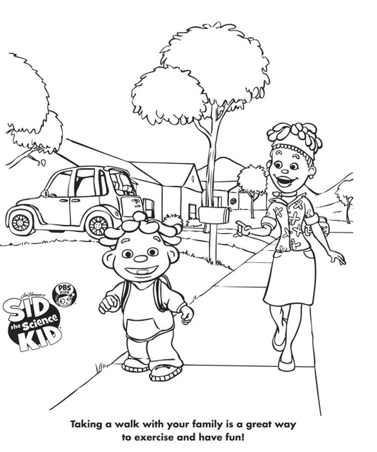 Sid The Science Kid Talking With Family Coloring Sheet