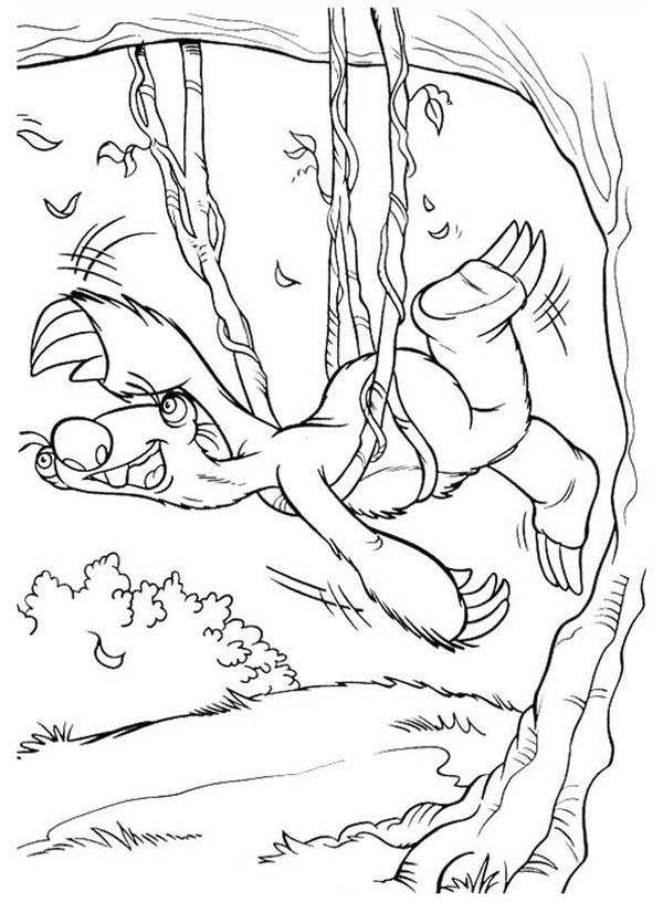 Sid Try To Escape From Tree Rope In Ice Age Coloring Pages