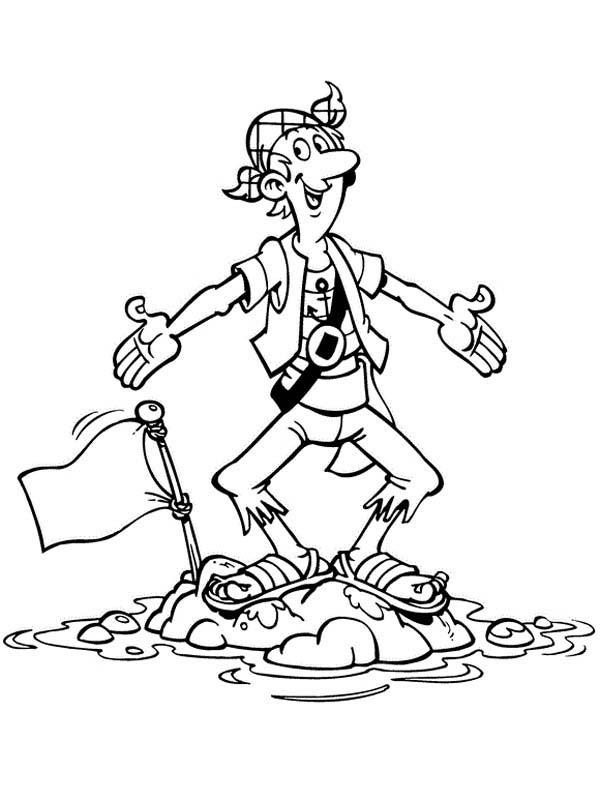 Silent Steven Standing On Little Island In Piet Pirate Coloring Pages