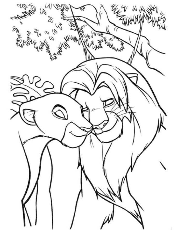 Simba And Nala In Love The Lion King Coloring Page