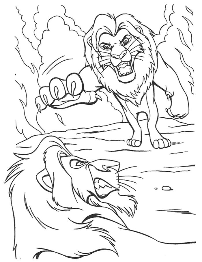 Simba Fighting Scar The Lion King Coloring Page