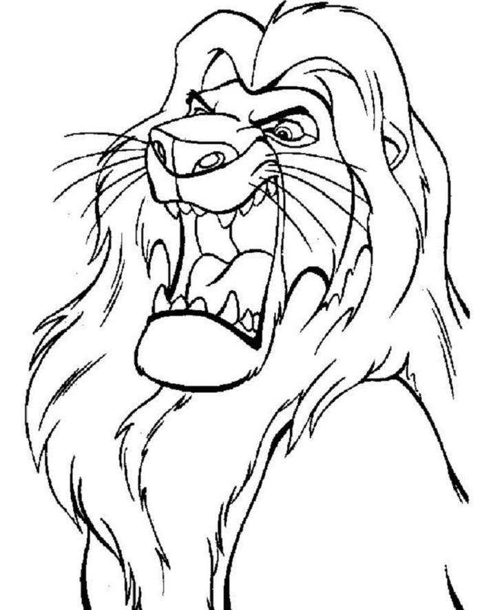 Simba Roaring Coloring Pages