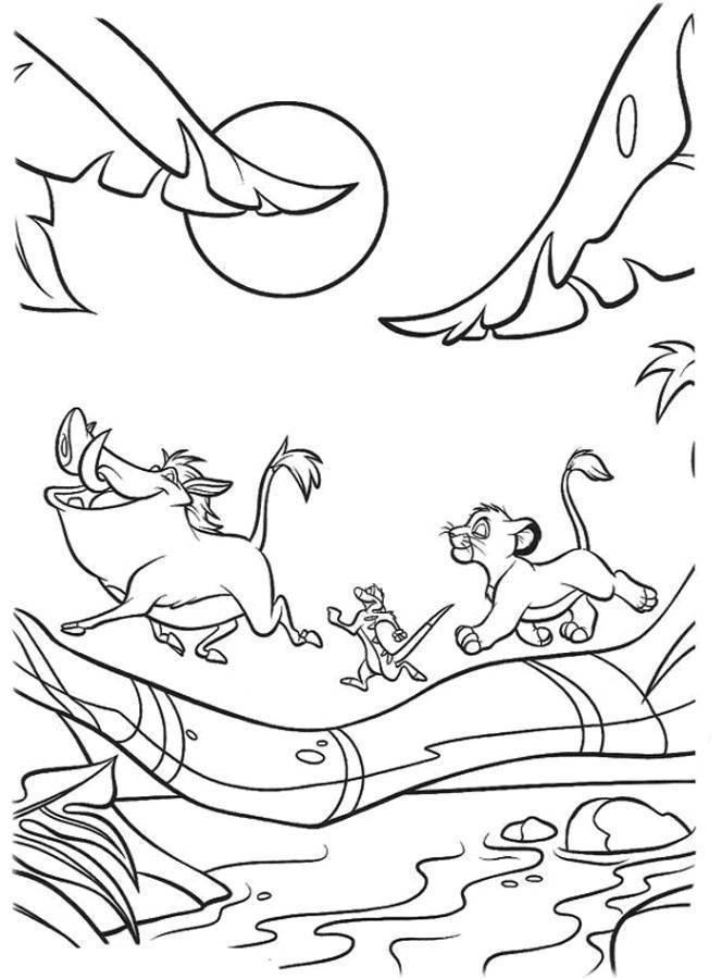 Simba Timon And Pumbaa Crossing A Bridge The Lion King Coloring Page
