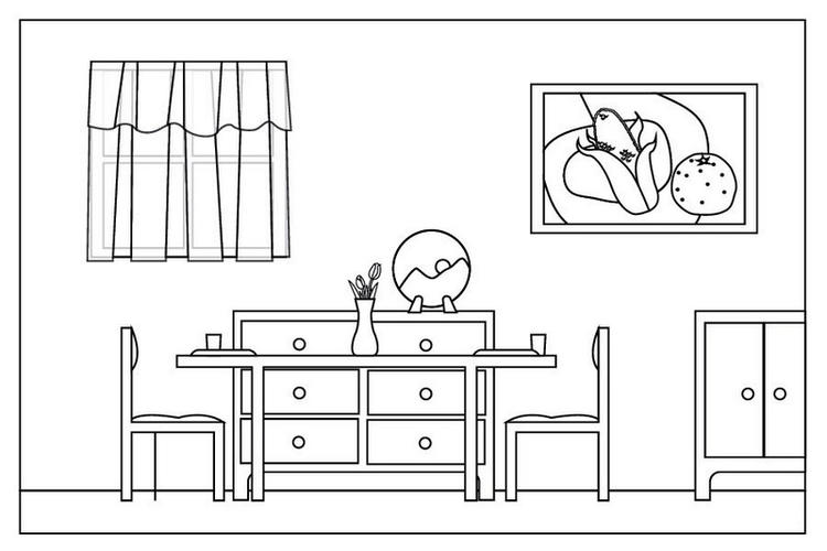Simple And Clean Dining Room Coloring Sheet
